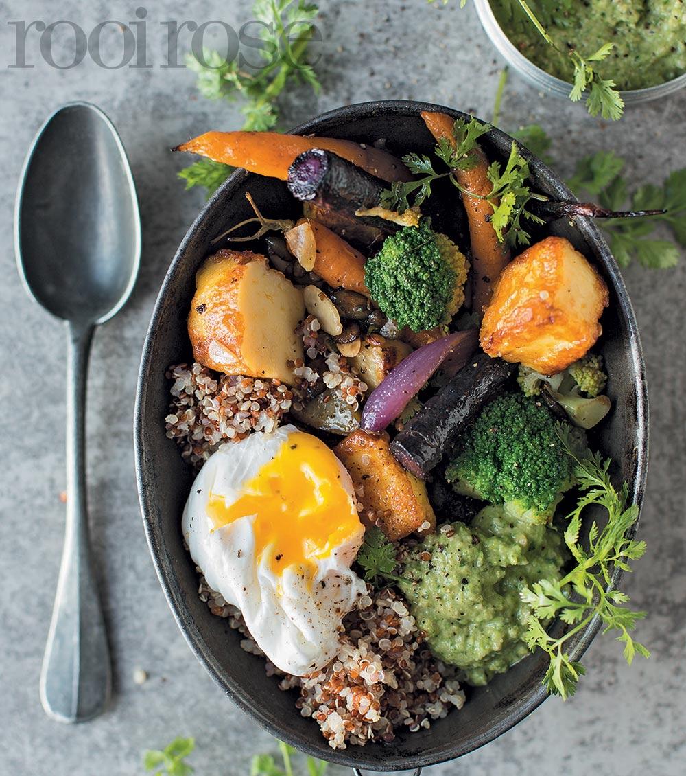 Quinnoa-groentebakkie en broccoli-pesto